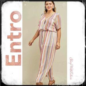 Entro Rainbow Stripe Jumpsuit W/Front Snap